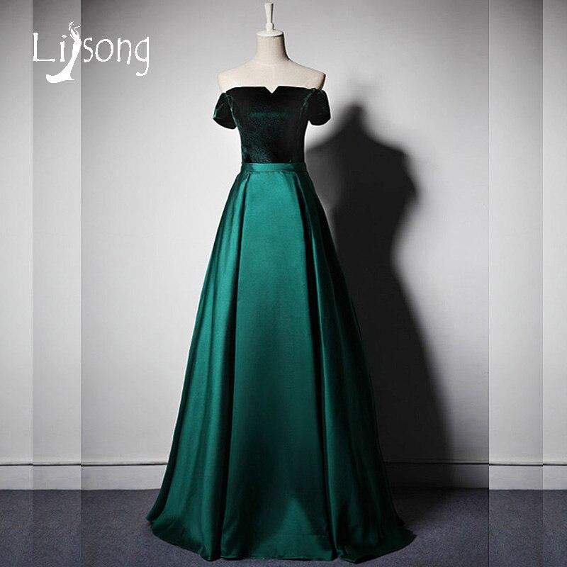 High Fashion Emerald Evening Dresses Velvet Formal Gowns Long A-line ...