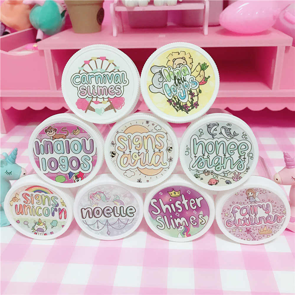 48Pcs Waterproof Round Slime Sticker Containers Sticker Storage Box Sticker Slime Supplies DIY Accessories Bottle Decoration
