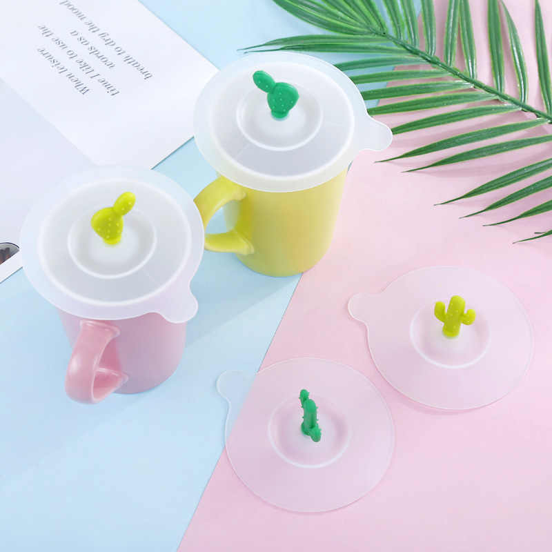 1PC Cactus Silicone Leakproof Cup Lids Heat Resistant Reusable Sealed Cover Tea Cup Suction Seal Cap Cup Lid Kitchen Accessories