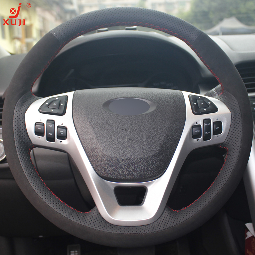 Xuji Black Genuine Leather Suede Car Steering Wheel Cover