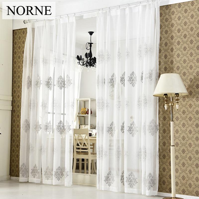 NORNE Modernas cortinas de la ventana de tul para la sala de estar El - Textiles para el hogar