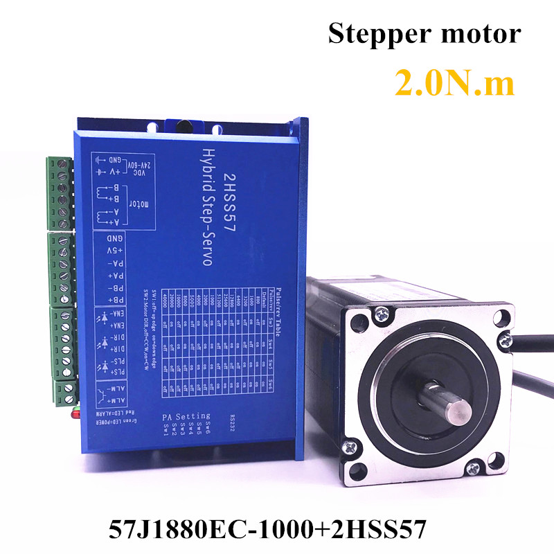 57J1880EC-1000+2HSS57 57 Closed-loop Nema23 step motor 2.0N.m Nema 23 Hybird closed loop 2-phase stepper motor driver closed loop stepper motor 57j1854ec 1000 2hss57 driver 0 9n m nema 23 hybrid 2 phase step motor with 3m encoder cable