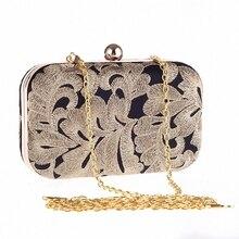 Neue Marke Gold Frauen Stickerei Hochzeit Bag Abendhandtaschen Kristall Feder Weibliche Mini Kette Messenger Bags Ethinic Party
