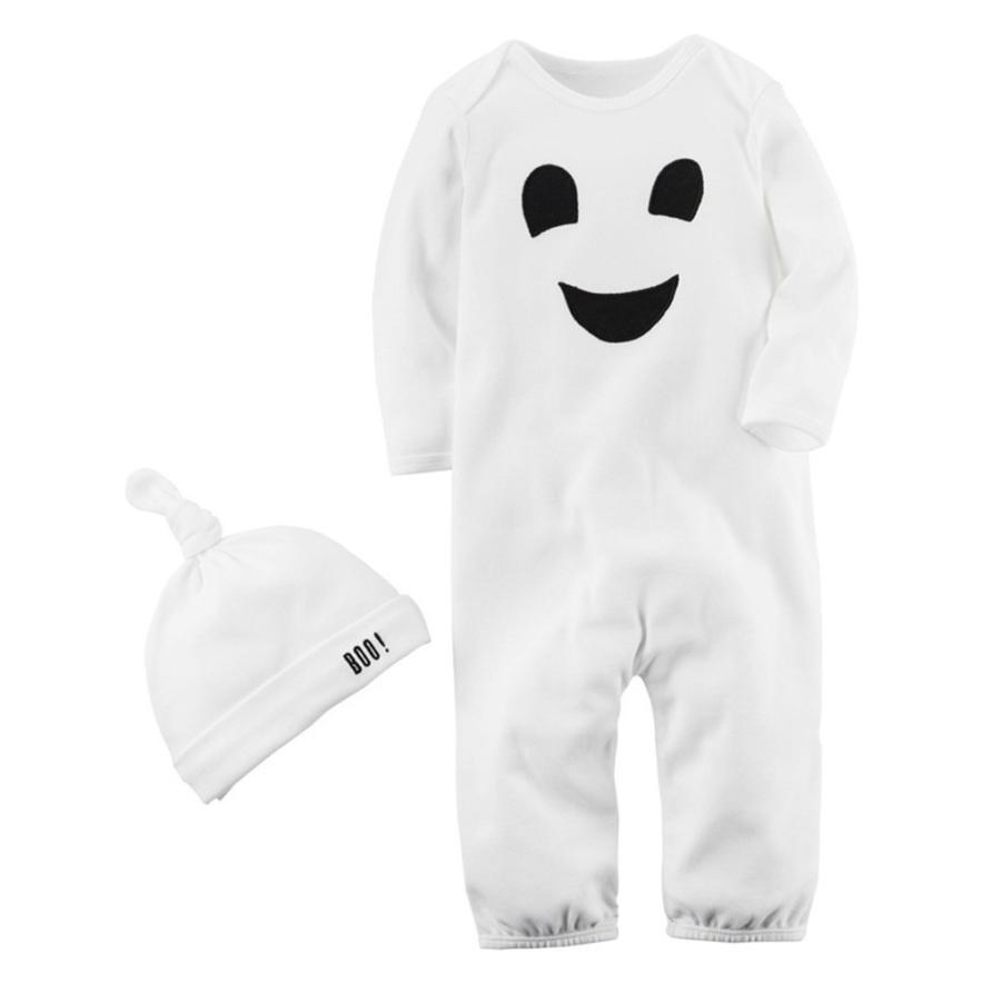 Arloneet halloween costume 2PCS Halloween Baby Boys Girls Cartoon Print Romper Jumpsuit+Hat Set Outfit l0730 my 1st halloween witch hat white top halloween stripe skirt girl outfit set 1 8y mapsa0897