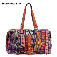 Fashion Large Capacity Women Canvas with Leather Jacquard Travel Duffle Multifunction Tassel Bags Plus Size