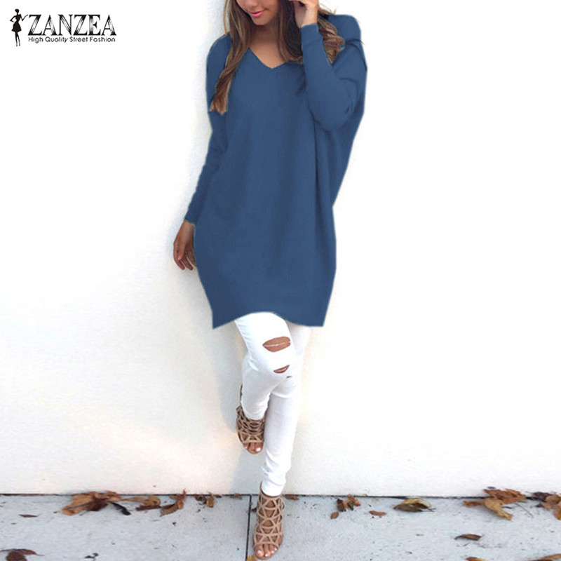 Female ZANZEA Blusas Women Knitted Sweater 2018 Casual Loos Pullovers Tops V Neck Long Sleeve Thin Knitwear Plus Size Tops