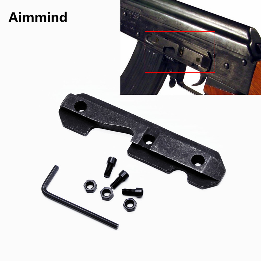 Tactical AK Steel Dovetail Side Plate Fits Stamped Milled Receiver Airsoft Wrench Hunting Rifle <font><b>AK47</b></font> Side <font><b>Scope</b></font> <font><b>Mount</b></font> image