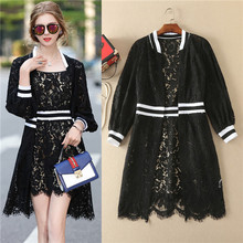 black white ribbon patchwork lace wirst sleeves cardigan and sundress two items units top quality lace clothes twin-sets 2017