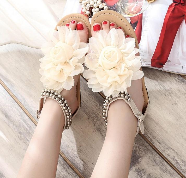 2016 New Arrival Fashion Cute Sandals for font b Women b font Summer Flower Flat Heels
