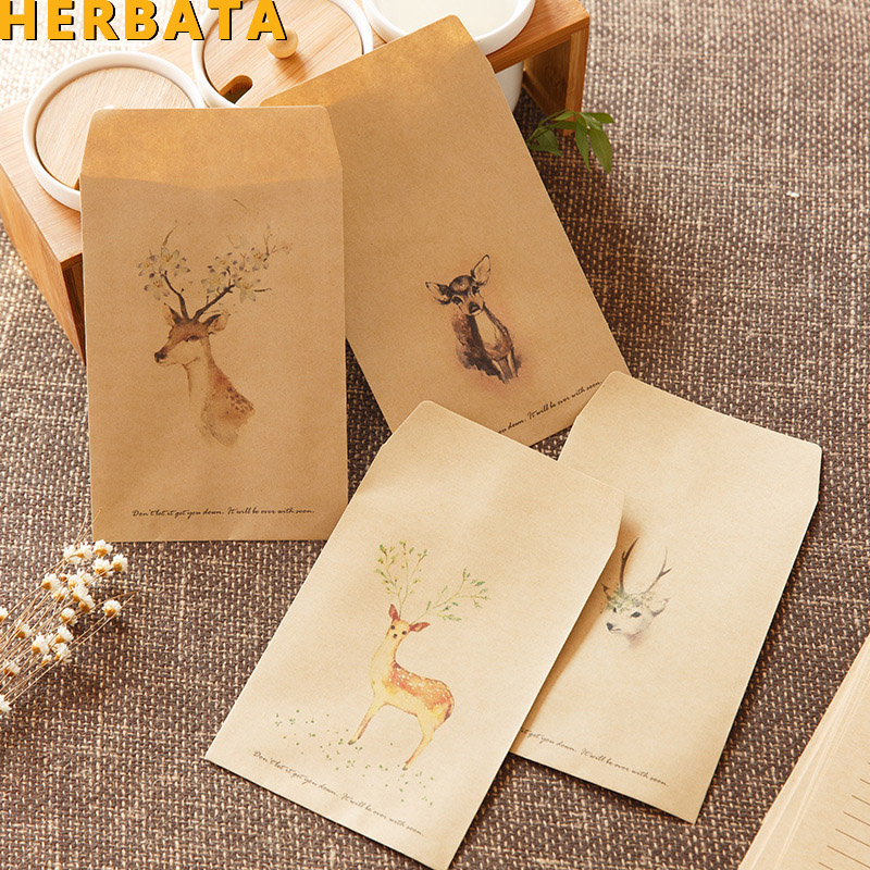HERBATA (10pcs/lot) Chinese Style  Craft Paper Envelope For Letter Paper Postcards School And Office Supplier Stationery CL-2028