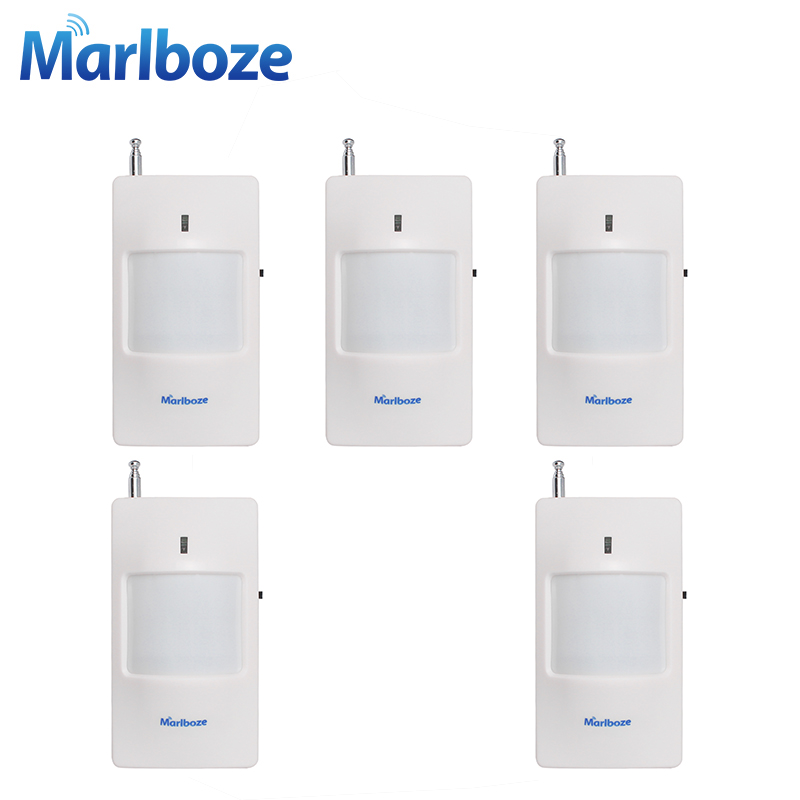 Marlboze 5pcs/lot 433MHz Wireless Infrared detector with Battery PIR Motion Sensor for Home Security Alarm System 5pcs marlboze 433mhz wireless smart infrared sensor pir motion detector for pg103 home security wifi gsm 3g gprs alarm system