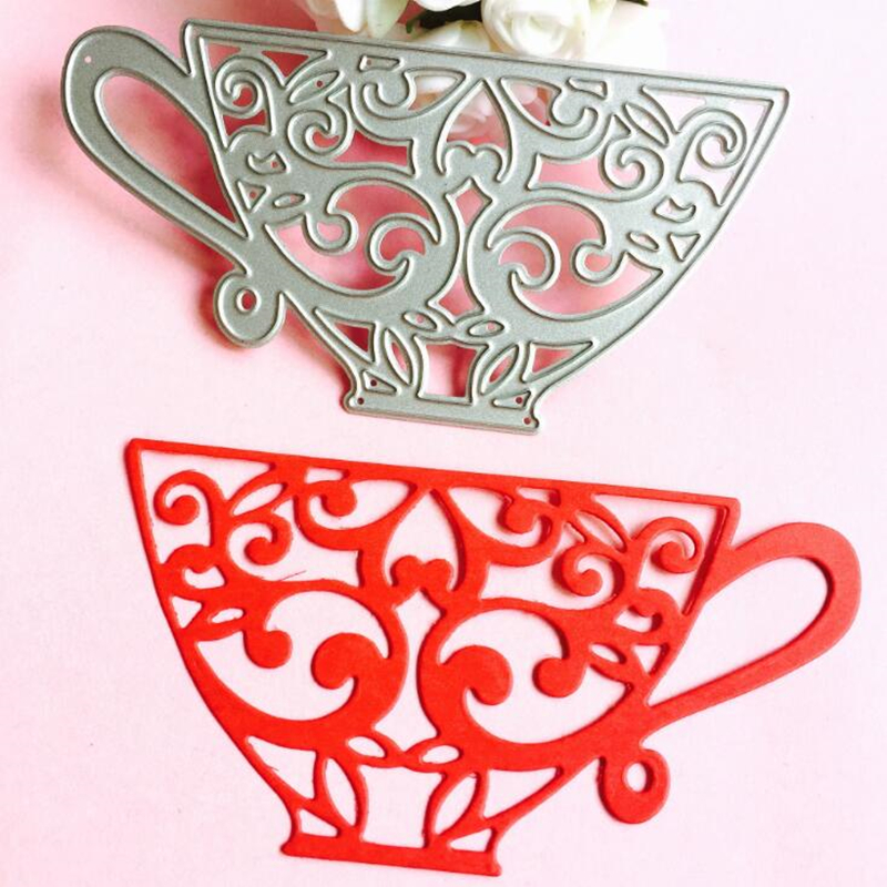 YLCD245 Tea Cups Metal Cutting Dies For Scrapbooking Stencils DIY Album Cards Decoration Embossing Folder Die Cutter Template in Cutting Dies from Home Garden
