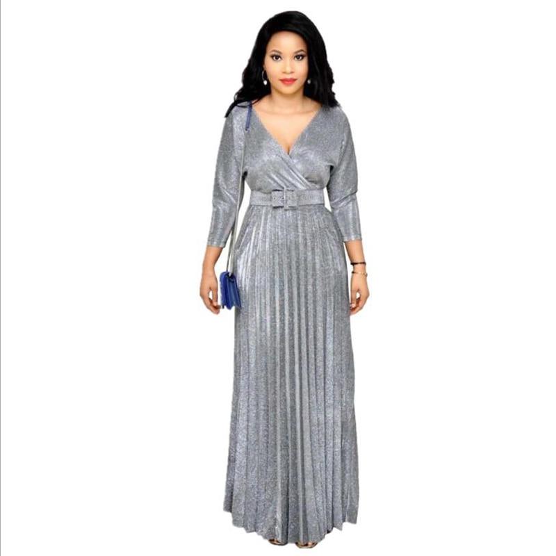 Summer Women Fashion Office Lady Elegant Dresses Wrist Sleeve Length Gilded Pleated Swing Dress with Sashes Chameleon Fabric