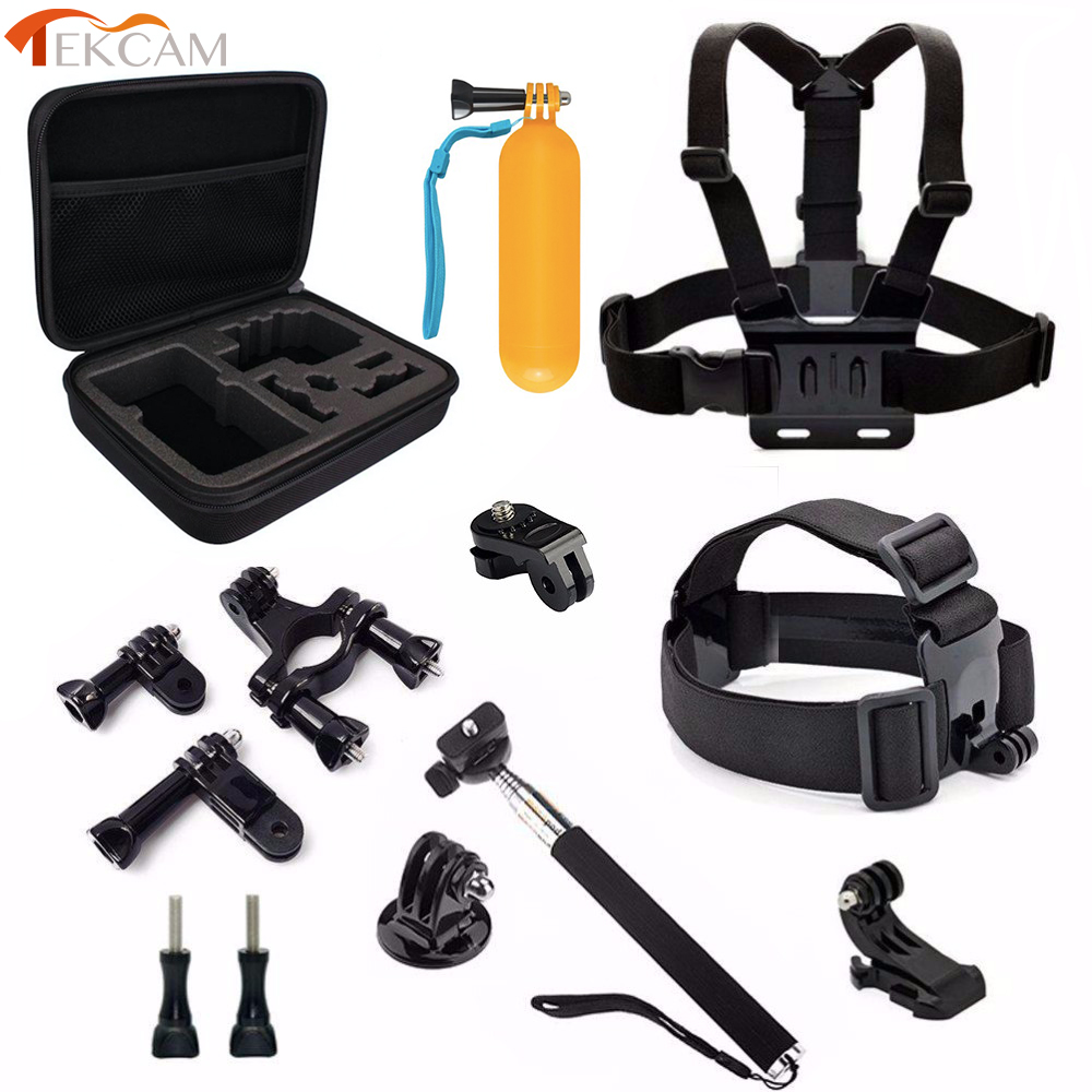 Tekcam Action Camera Accessories Head Mount Selfie Monopod for yi 4k EKEN H9/h9r H5S H6S Thieye i60 SJCAM SJ4000 SJ5000 Goldfox for gopro accessories outdoor eva collecting box for sjcam sj4000 sj5000 sj5000x sj6 sj7 eken h9 h9r yi action camera