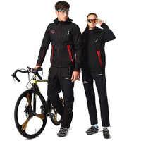Conjunto de Jersey de Ciclismo de invierno para hombre y mujer chaqueta impermeable de lana térmica para bicicleta ropa de Ciclismo