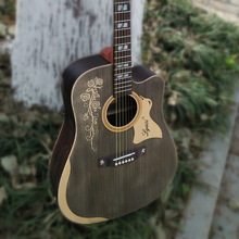 41 inch Acoustic Guitar Handmade Rosewood Fingerboard Full Solid With Gig Bag new saysn high quality 41 walnut acoustic guitar rosewood fingerboard oil varnish beginners guitarra with backpack strap capo