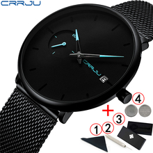 Crrju 2019 Mens Watches Top Brand Luxury Sports Waterproof Man Watch Ultra Thin Dial Quartz Black Male Watch Relogio Masculino