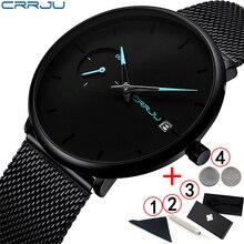 Crrju 2019 นาฬิกาแบรนด์หรูกีฬากันน้ำนาฬิกา Ultra Thin Dial Quartz สีดำชายนาฬิกา Relogio Masculino