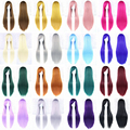 24 Colors Women Wig Heat Resistant Pink Black Blue Red Yellow White Blonde Purple Straight Cosplay Wigs 80cm