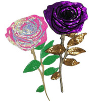 Patch deal with it diy clothing purple/pink rose iron on patches for clothes sequins stickers halloween christmas free shipping