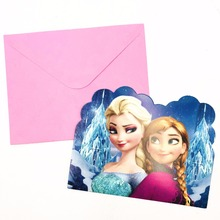 Frozen Elsa And Anna Invitation Card kid Baby Happy Birthday Theme Party supplies fiestas infantiles decoracion 6pcs/set