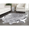 LANSKAYA  Imitation Leather Zebra Striped Black White Natural Shape Cowhide Rug Cowskin Carpet For Living Room Decoration