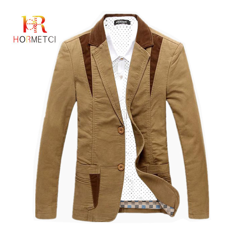 HORMETCI Hight Quality Men's Casual Blazer Slim Cotton Men Large Size 6XL Thick Jacket Formal Business Male Cotton Full Blazers