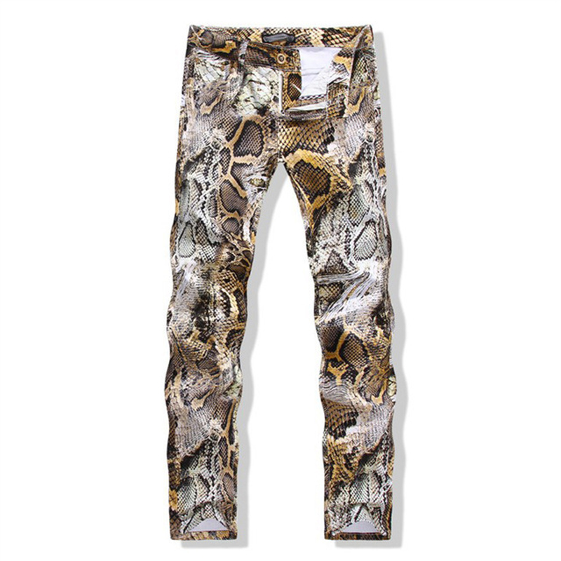 Mens autumn flower pants feet Slim pants men tide printing snakeskin pants casual pants