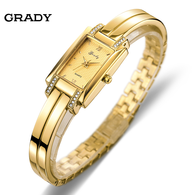 Prix pour Nouvelle Marque Grady mode 18 k Or plaqué femmes montres 3atm dames imperméables Montre À Quartz Femmes Montres relogio masculino