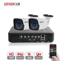 KRSHDCAM 4CH AHD DVR Security CCTV System 30M IR 2PCS 720P CCTV Camera Outdoor Waterproof Camera