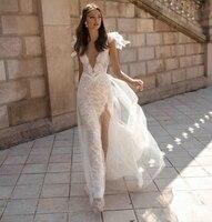 2019 кружевные свадебные платья с глубоким вырезом на спине, с высоким разрезом и v образным вырезом, прозрачные пляжные свадебные платья, Boho с
