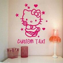 Pegatinas decorativas pared habitación hechas a medida dormitorio hello kitty