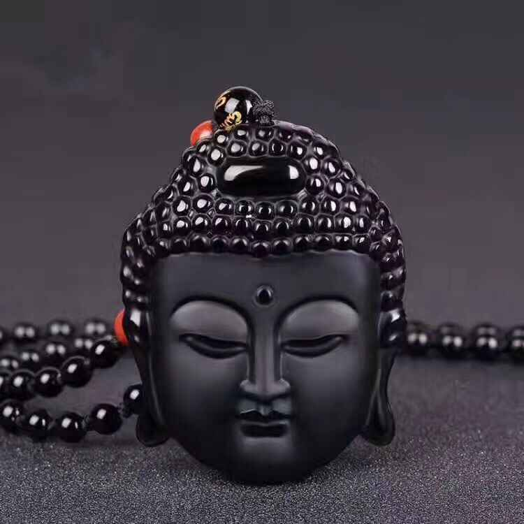 中国自然な黒曜石仏頭幸運お守りペンダント送料ネックレス