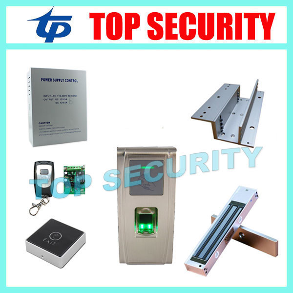 Good qulity fingerprint time attendance and access control system with touch exit button, power supply and magnetic door lock gprs real time fingerprint access guard tour system