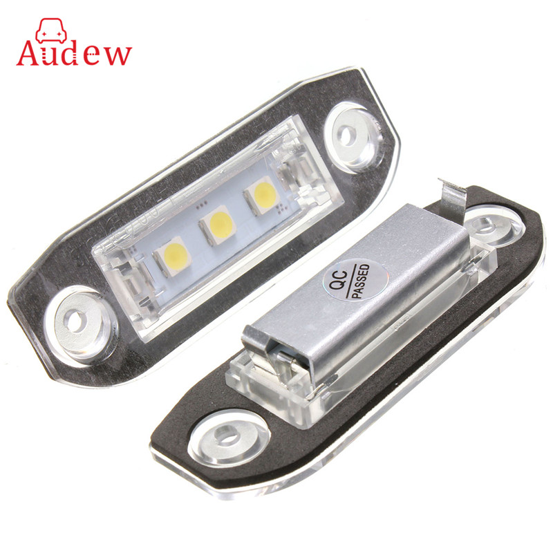 2X Car LED License Plate Lights 12V White SMD5050 LED Number Plate Lamp For Volvo S80 S60 C70 V70 E-marked