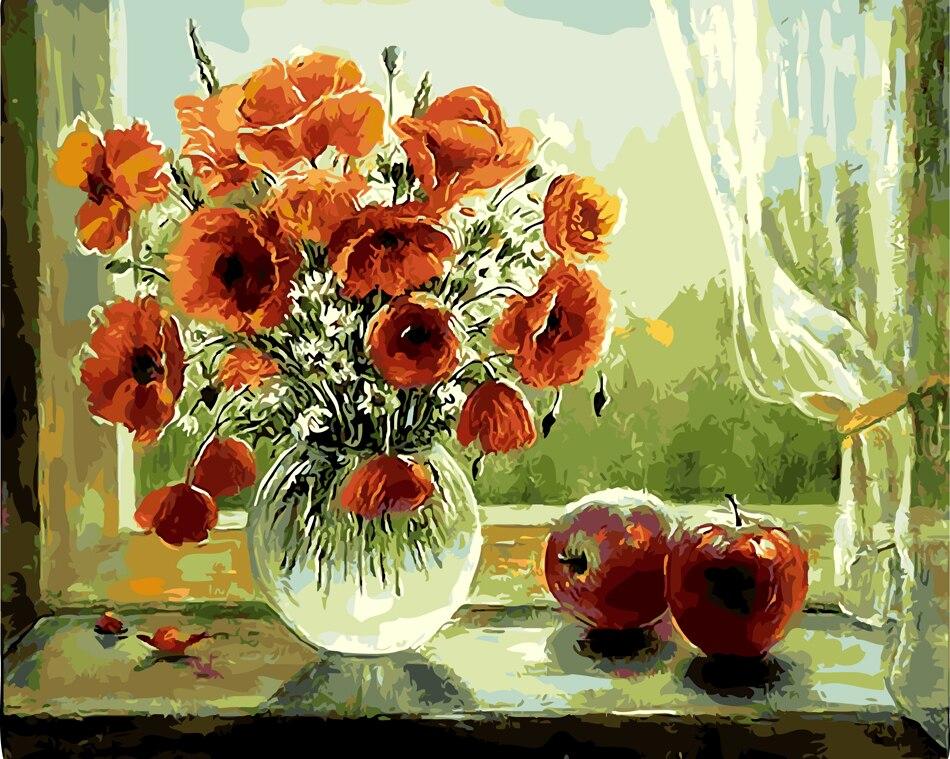 Keuken Verf Kleuren : Bloemen olieverf foto nummers hand verf tekening kleuren nummers