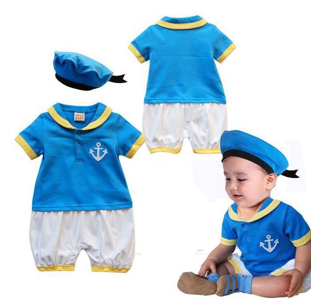 Estilo Marinheiro Roupa Dos Miúdos do bebê Romper + Chapéu de Manga Curta Azul do Verão das Crianças do Algodão Da Criança Macacão Roupas Para Bebês