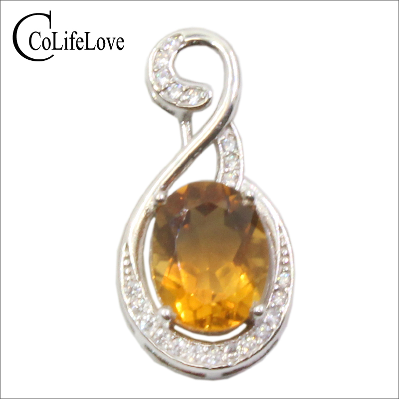 CoLife Jewelry Classic 925 Silver Citrine Necklace Pendant for Morth's Day Gift Real Citrine Pendant Silver Citrine Jewelry