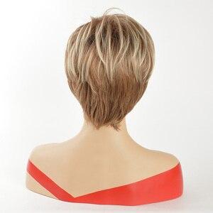 Image 2 - Mswiigs Lady Korte Pruiken Blonde Synthetische Pruik Met Pony Bruin Hittebestendig Afro Two Tone Ombre Hair Voor Vrouwen Wit