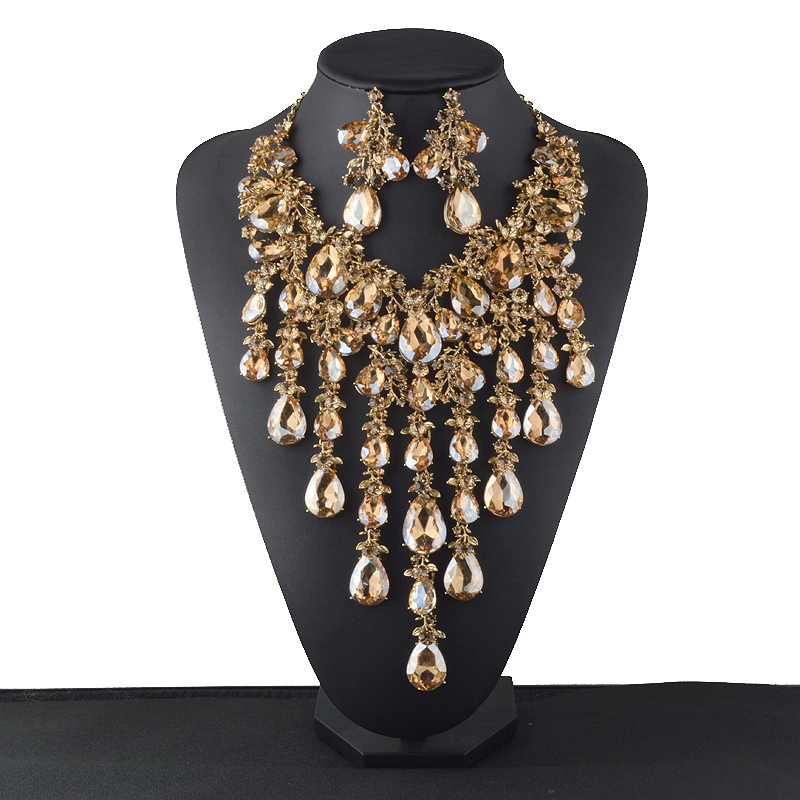 New Statement Rhinestone Jewelry sets Bridal wedding necklace font b earrings b font set Women party
