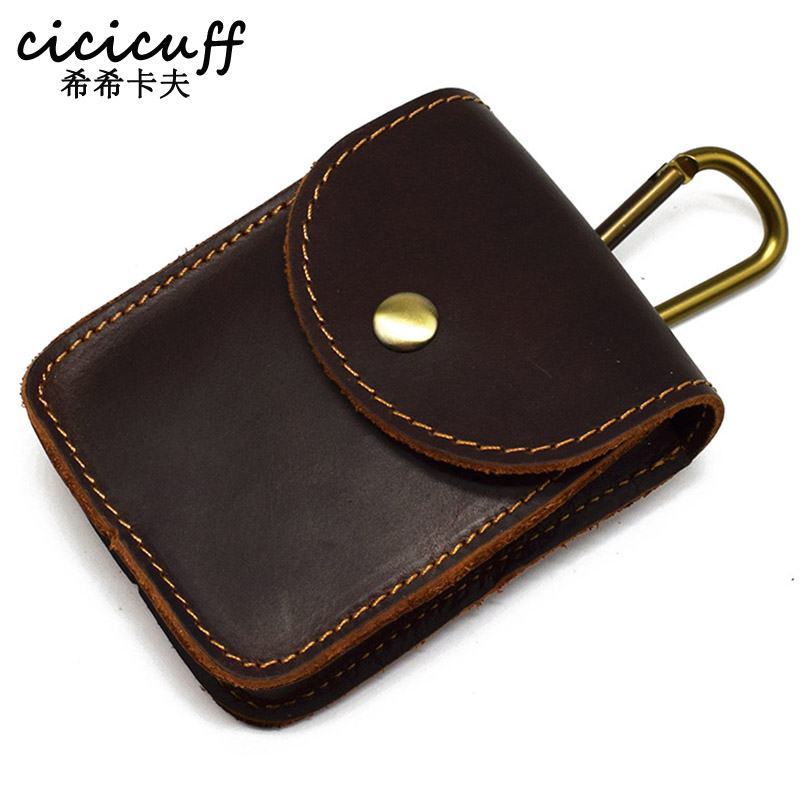 Genuine Leather Belt Keys Organizer Cigarette Case Waist Hanging Coin Storage Bag Crazy Horse Leather Card Case Car Key Wallet