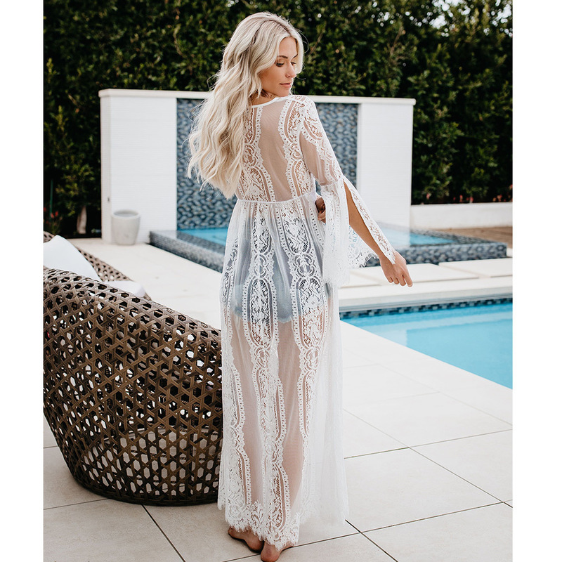 Summer Beach <font><b>Dress</b></font> Plus Size <font><b>Sexy</b></font> Perspective Lace Sunscreen <font><b>Dress</b></font> <font><b>White</b></font> Black Boho <font><b>Dresses</b></font> Long Maxi Loose Clothing <font><b>Dresses</b></font> image