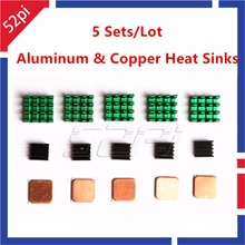 5 Takım! alüminyum ve Bakır Isı Lavabolar Soğutma Lavabolar Raspberry Pi için 3/2 Model B/B artı +