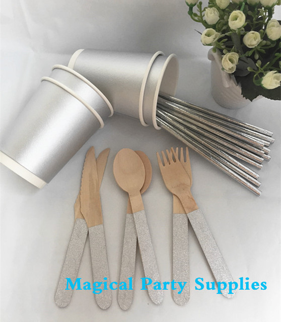 Silver Foil Disposable Tableware 24 People Paper Coffee Cup Birthday Party Paper Straw Christmas Glitter Wooden & Silver Foil Disposable Tableware 24 People Paper Coffee Cup Birthday ...