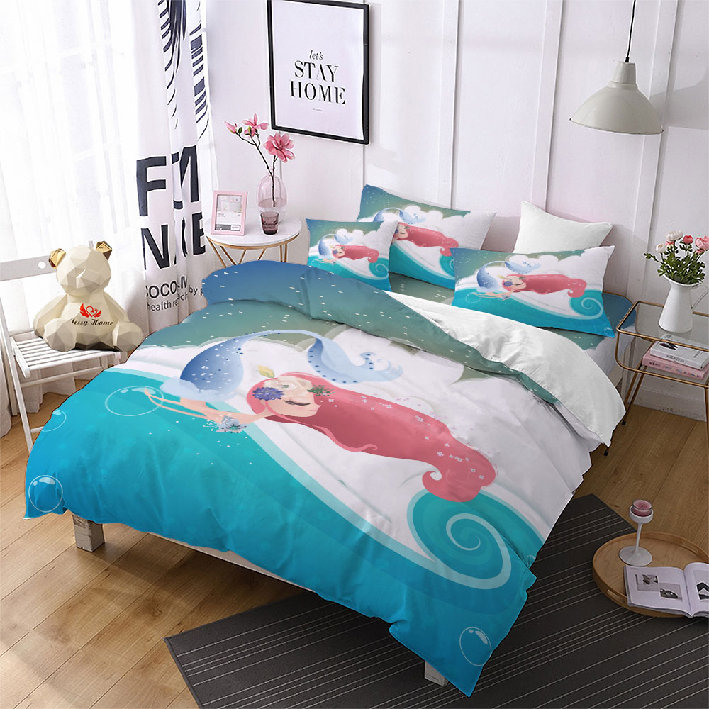 Kids King Size Bedding.Us 38 9 30 Off Fairy Tale Ocean Mermaid Comforter Bedding Sets Anime King Size Bedding Set Kids Duvet Cover Pillowcase Home Decor Cover Set F In