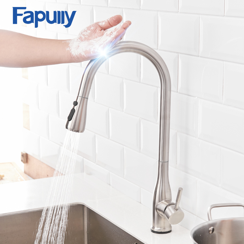 Fapully Sensitive Touch Kitchen Faucets Stainless Steel Sensor Smart Pull Out Sprayer Hand 360 Degree Rotation Mixer Taps CP1025Fapully Sensitive Touch Kitchen Faucets Stainless Steel Sensor Smart Pull Out Sprayer Hand 360 Degree Rotation Mixer Taps CP1025