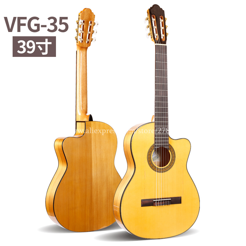 Professional 39 INCH Cutaway Flamenco guitar With Spruce Aguadze Body Strings Classical guitar in Guitar from Sports Entertainment