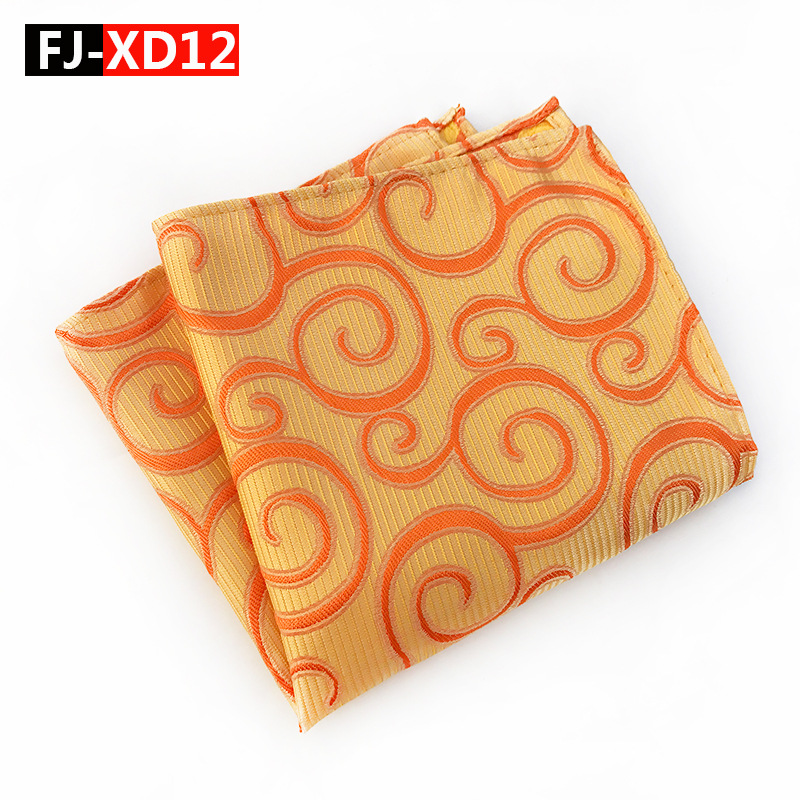 High Quality Silk  Mens Orange Volume Flower Pocket Square  Hankerchief Scarves Men's Square Handkerchiefs