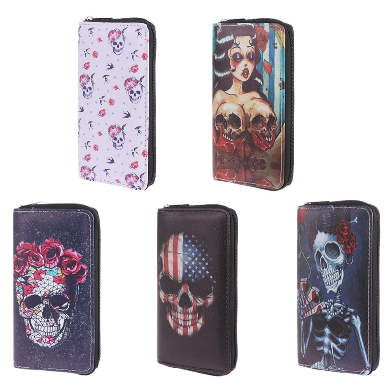 Synthetic Leather Fashion Women Skull Wallet Clutch Card Holder Purse Handbag Wallet Phone Polyester Case
