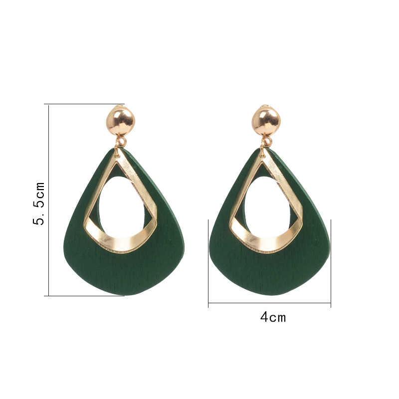 Anting-Anting untuk Wanita Retro Geometris Korea Kayu 2019 Vintage DROP Besar Anting-Anting Menjuntai Fashion Perhiasan Hadiah Grosir